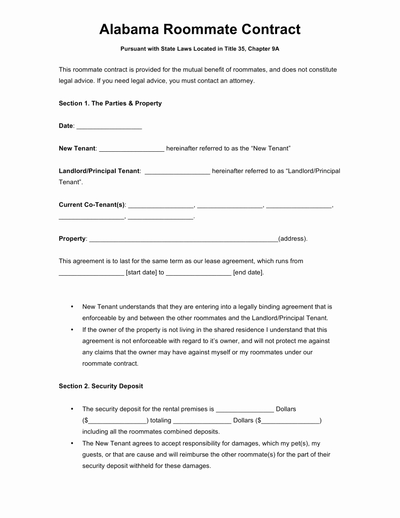 Roommate Agreement Template Free Fresh Free Alabama Roommate Agreement Template Word