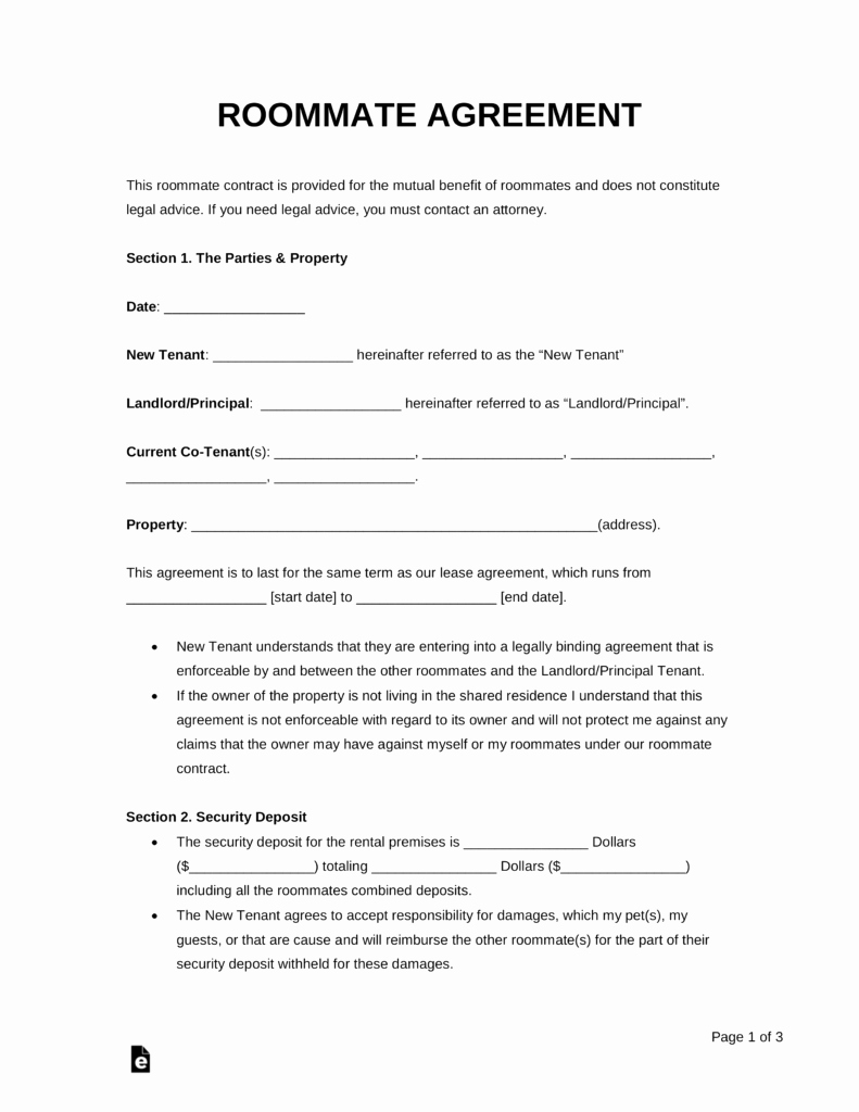 Roommate Agreement Template Free Fresh Free Roommate Room Rental Agreement Template Pdf