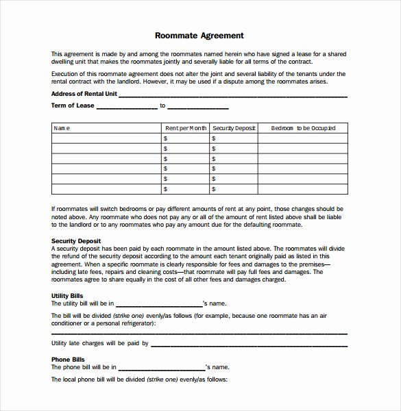 Roommate Agreement Template Free Luxury Agreement Template 27 Free Word Pdf Documents Download