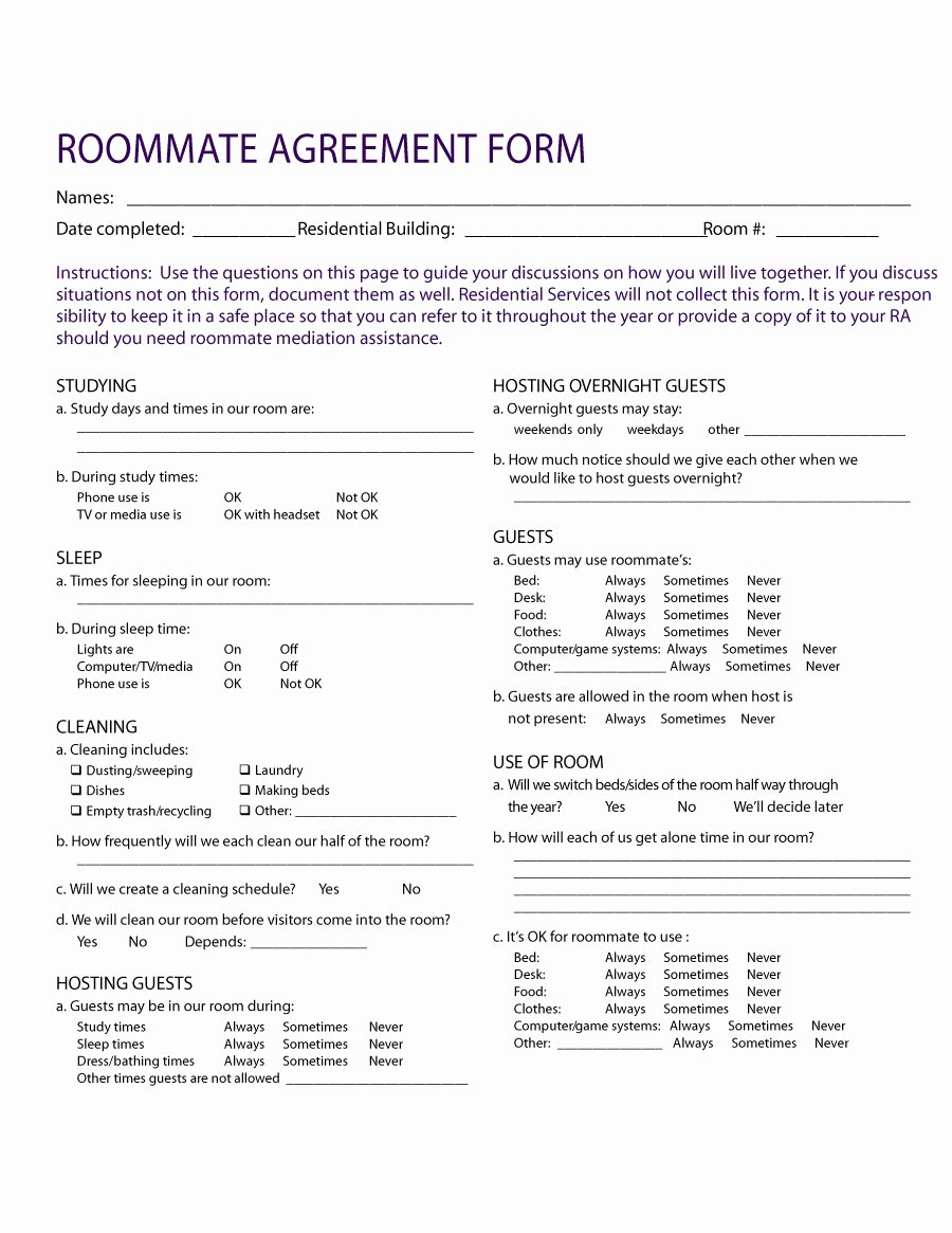 Roommate Agreement Template Free New 40 Free Roommate Agreement Templates & forms Word Pdf