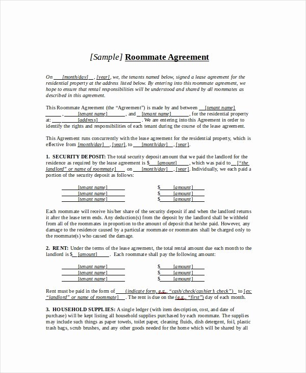 Roommate Agreement Template Free Unique Roommate Agreement 13 Free Pdf Word Documents Download
