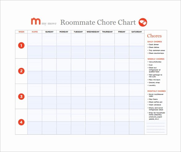 Roommate Chore Chart Template Fresh 10 Sample Chore Chart Templates