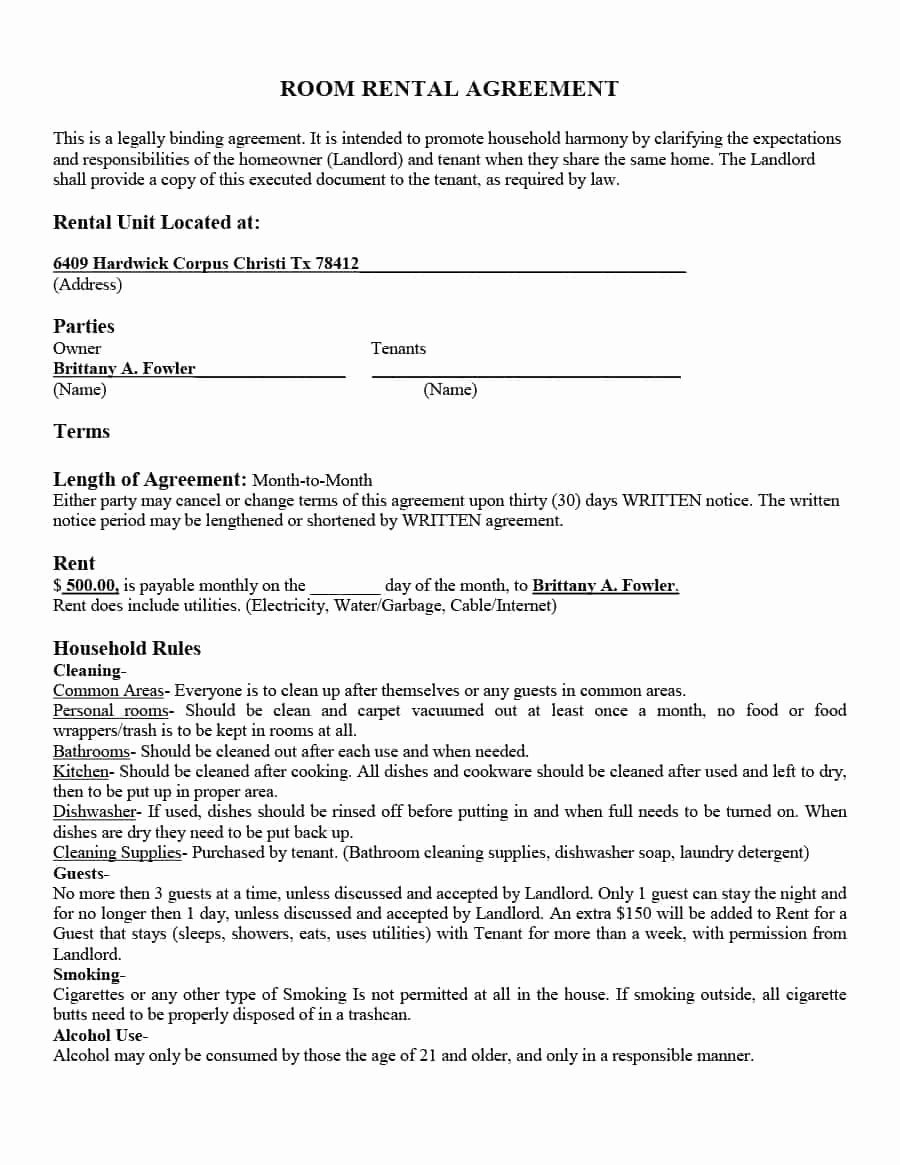 Roommate Rental Agreement Template Beautiful 39 Simple Room Rental Agreement Templates Template Archive