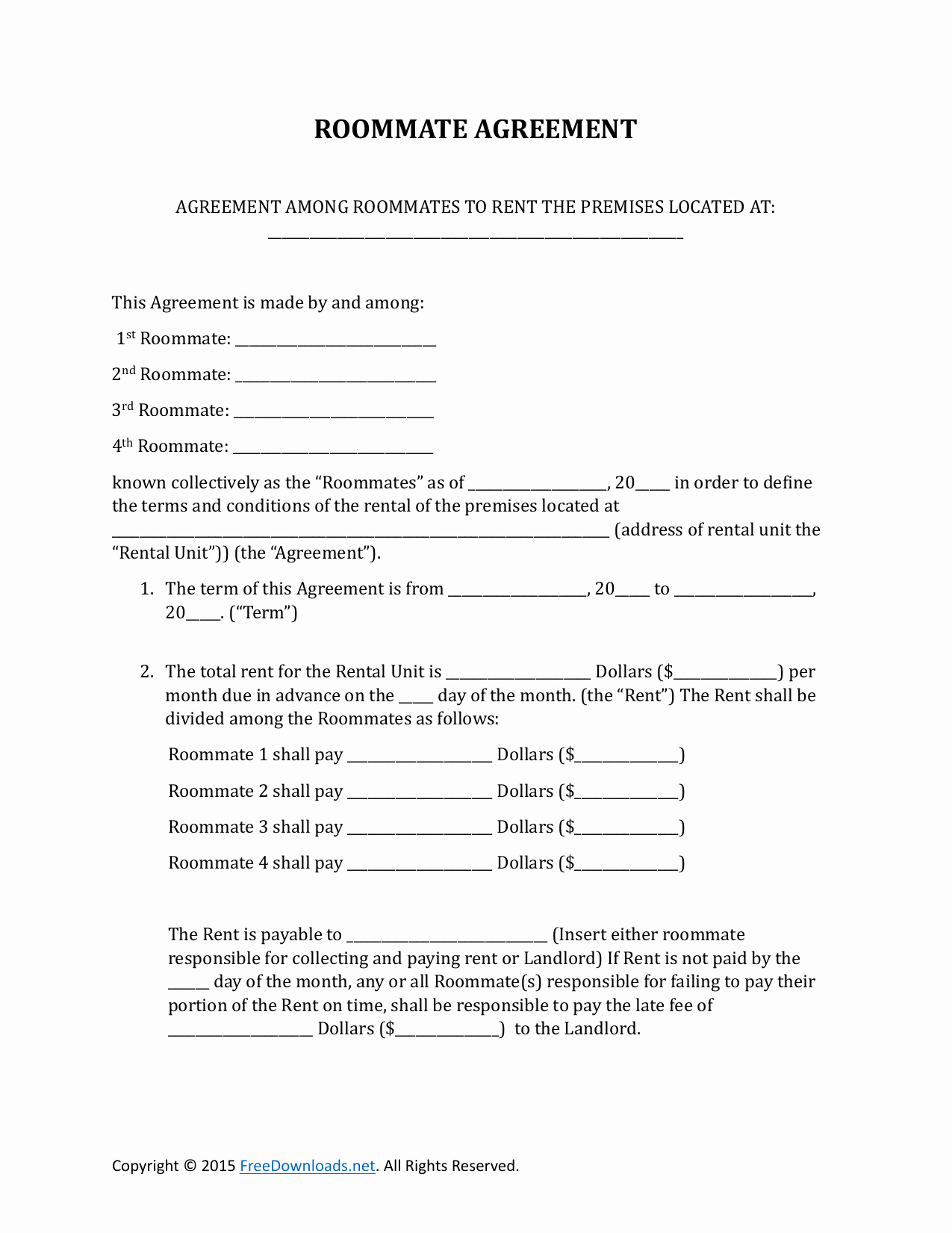 Roommate Rental Agreement Template Elegant Download Roommate Rental Lease Agreement form Pdf