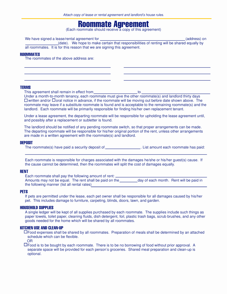 Roommate Rental Agreement Template Elegant Free Michigan Roommate Agreement Template Pdf