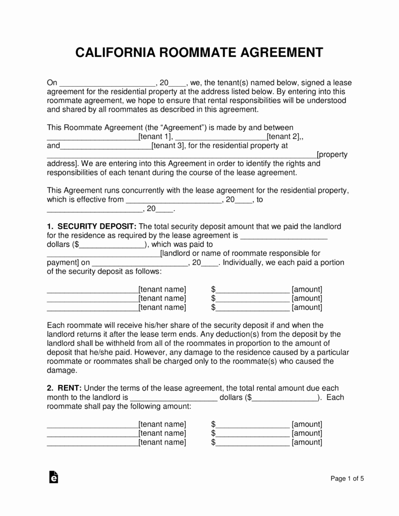 Roommate Rental Agreement Template Fresh Free California Roommate Room Rental Agreement Pdf