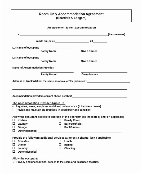 Roommate Rental Agreement Template Luxury 13 Room Rental Agreement Templates – Free Downloadable