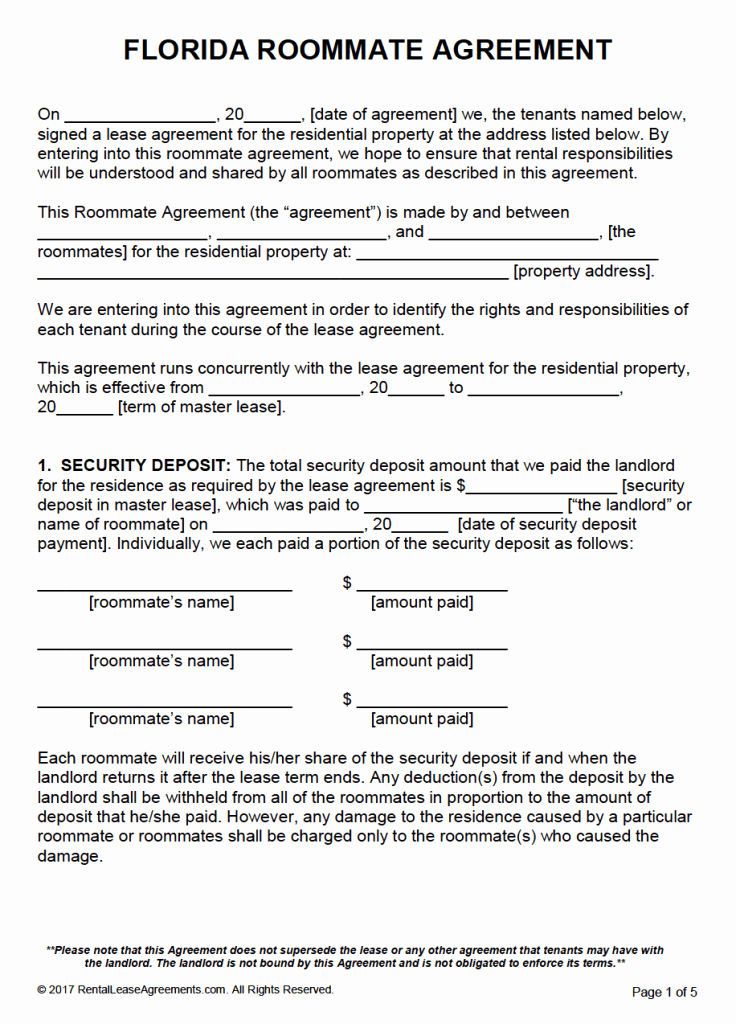 Roommate Rental Agreement Template Luxury Free Florida Roommate Agreement Template – Pdf – Word