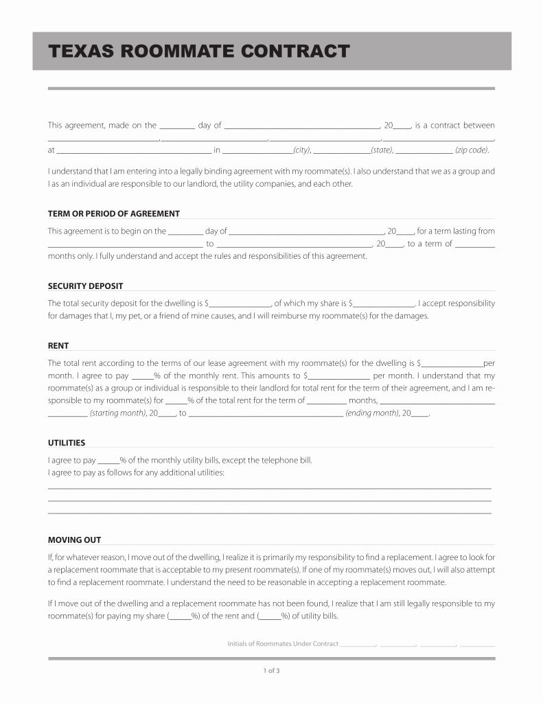 Roommate Rental Agreement Template New Free Texas Roommate Agreement Template Pdf