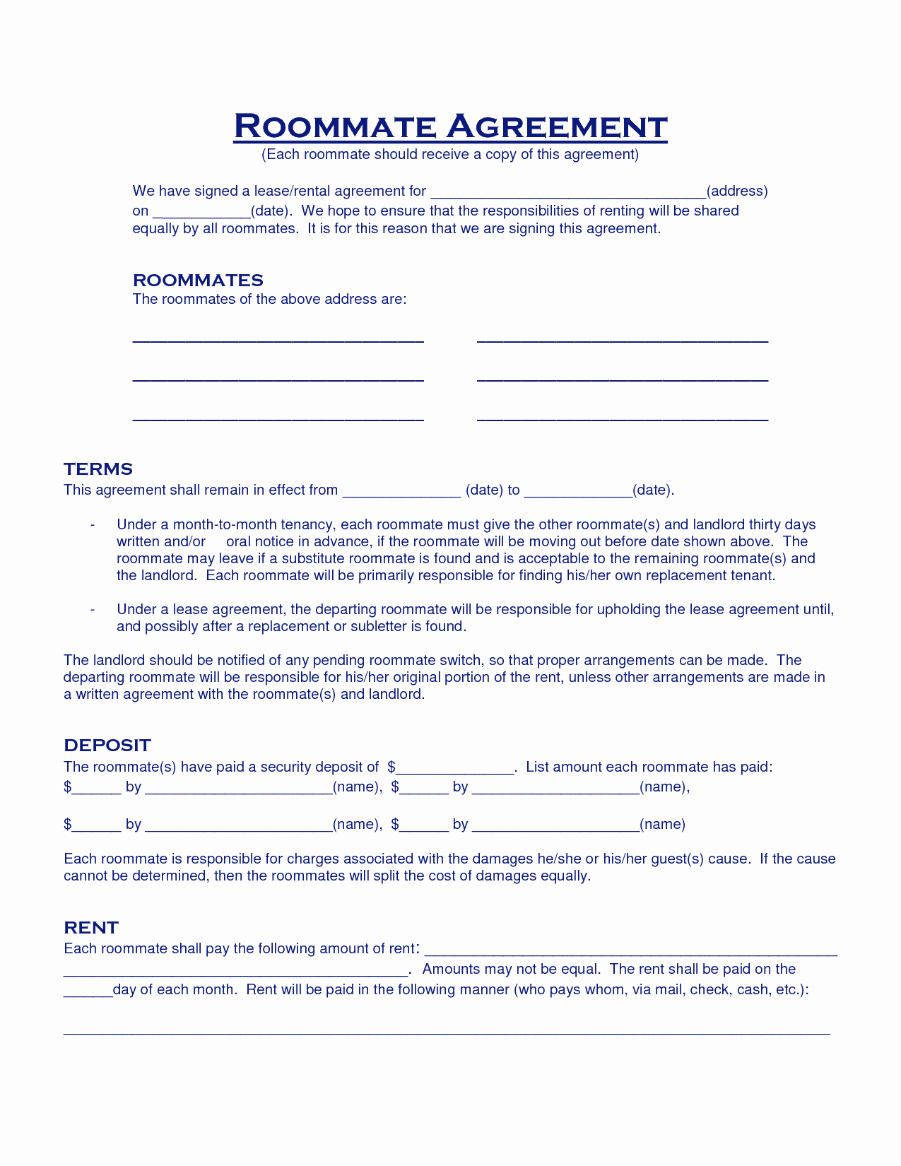 Roommate Rental Agreement Template Unique Roommate Agreement Template