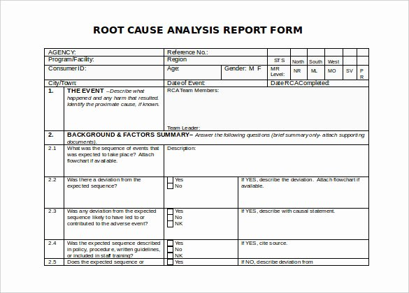 Root Cause Analysis Template Luxury 30 Root Cause Analysis Templates Word