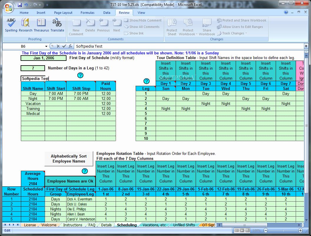 Rotating Shift Schedule Template Beautiful Download Schedule Rotating Shifts and Tasks 5 25