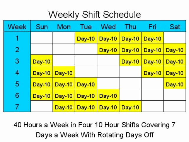 Rotating Shift Schedule Template Inspirational 10 Hour Schedules for 7 Days A Week Main Window Shift