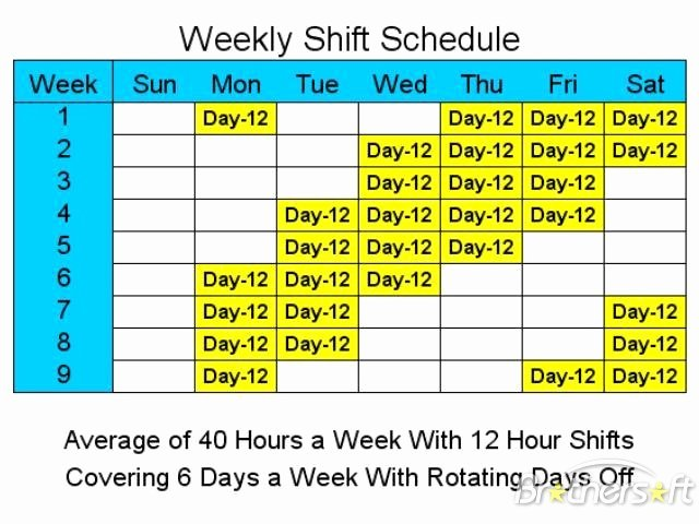 Rotating Weekend Schedule Template Best Of Download Free 12 Hour Schedules for 6 Days A Week 12 Hour