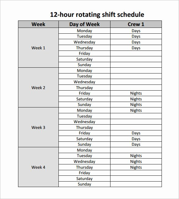 Rotating Weekend Schedule Template New 12 Hour Shift Schedule Template 10 Free Word Excel