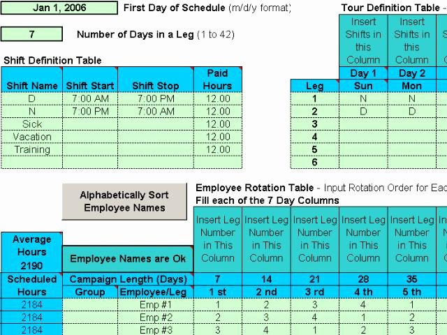 Rotating Weekend Schedule Template Unique Project Management Rotating Shift Schedules for Your