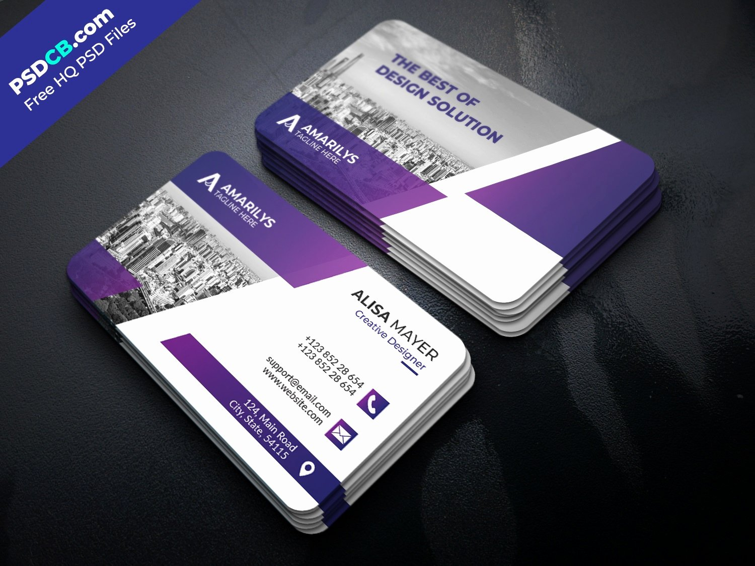 Rounded Business Card Template Awesome Modern Creative Business Card Template Design Psdcb