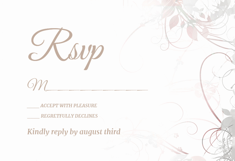 Rsvp Card Template Free Awesome Floral Swirls Free Rsvp Card Template