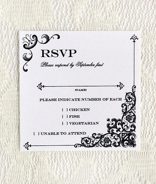 Rsvp Card Template Free Awesome Vintage Iron & Lace Square Rsvp Template