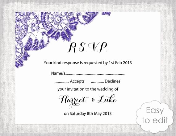 Rsvp Card Template Free Beautiful Items Similar to Lace Rsvp Template Instant Diy