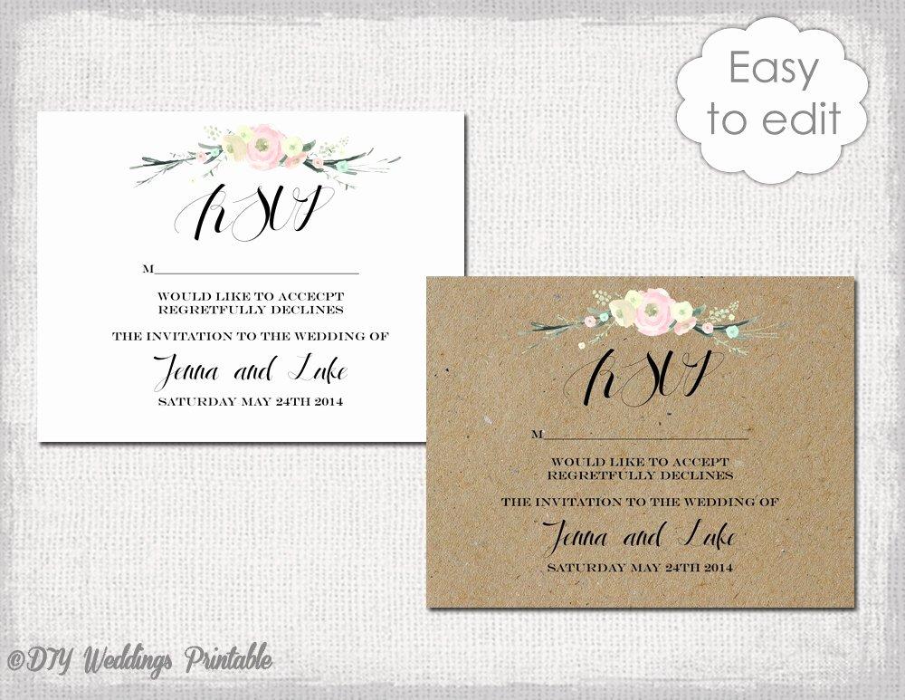 Rsvp Card Template Free Beautiful Rsvp Template Rustic Flowers Printable Wedding