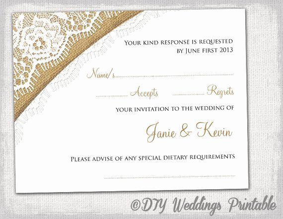 Rsvp Card Template Free Beautiful Rustic Wedding Rsvp Template by Diyweddingsprintable
