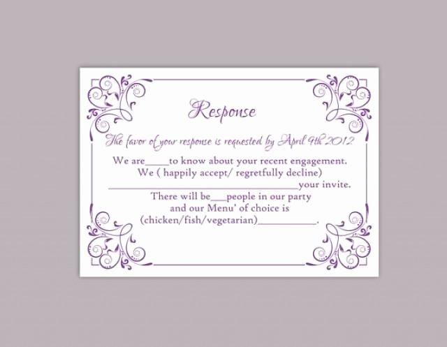Rsvp Card Template Free Elegant Diy Wedding Rsvp Template Editable Text Word File Download