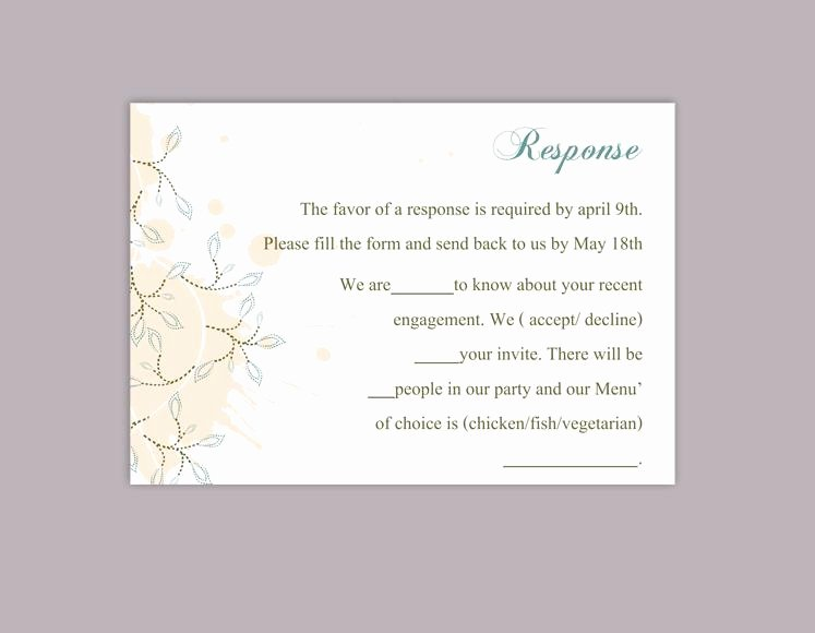 Rsvp Card Template Free Lovely Diy Wedding Rsvp Template Editable Word File Instant
