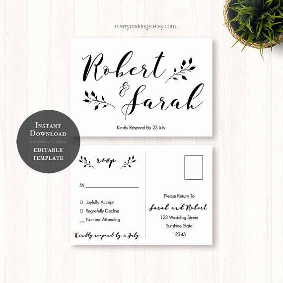 Rsvp Card Template Free New Diy Wedding Rsvp Rsvp Template Wedding Printable