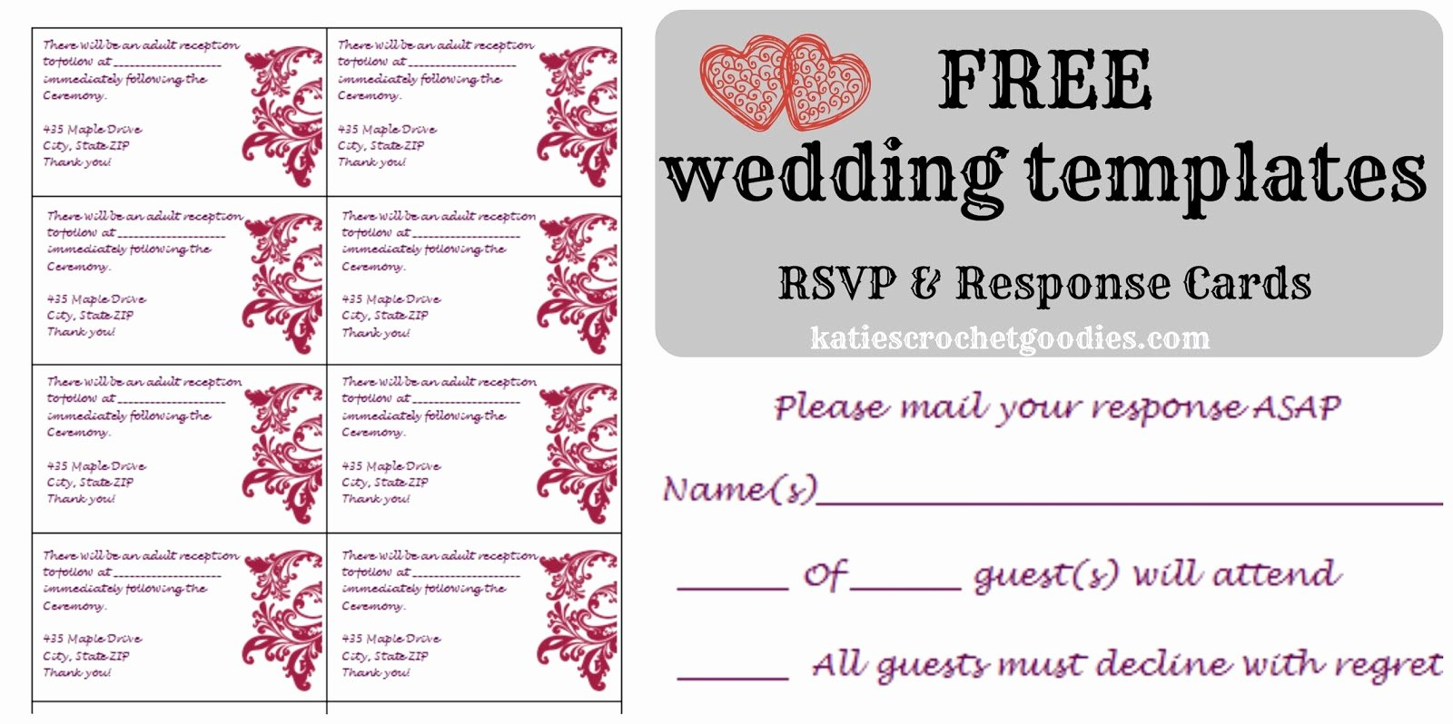 Rsvp Card Template Free New Free Wedding Templates Rsvp & Reception Cards Katie S