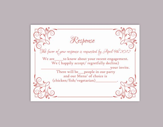 Rsvp Card Template Free Unique Diy Wedding Rsvp Template Editable Text Word File Download