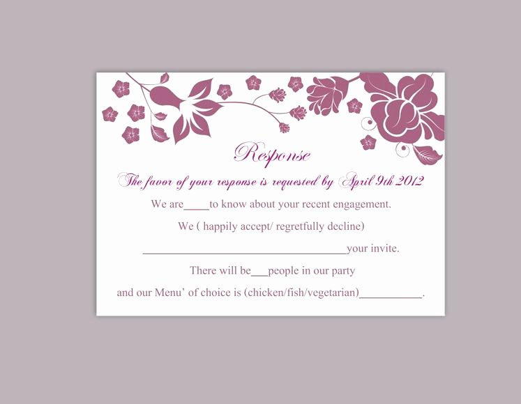 Rsvp Cards Template Free Awesome Diy Wedding Rsvp Template Editable Word File Instant