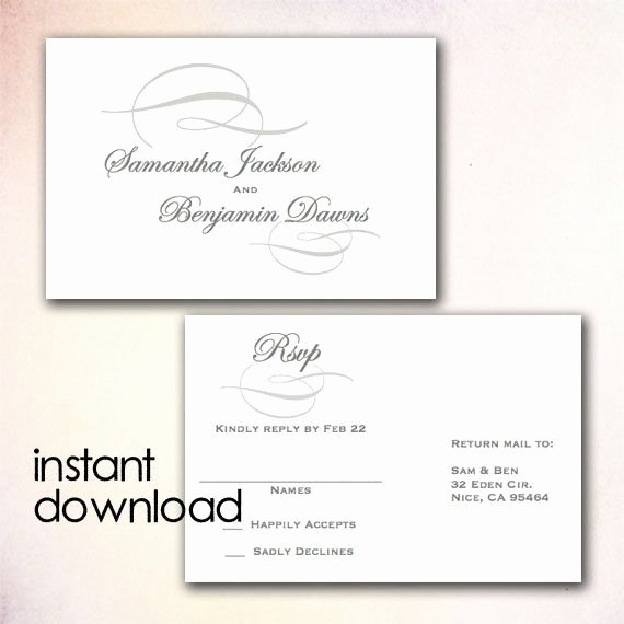 Rsvp Cards Template Free Beautiful Diy Wedding Rsvp Postcard Template Instant Download