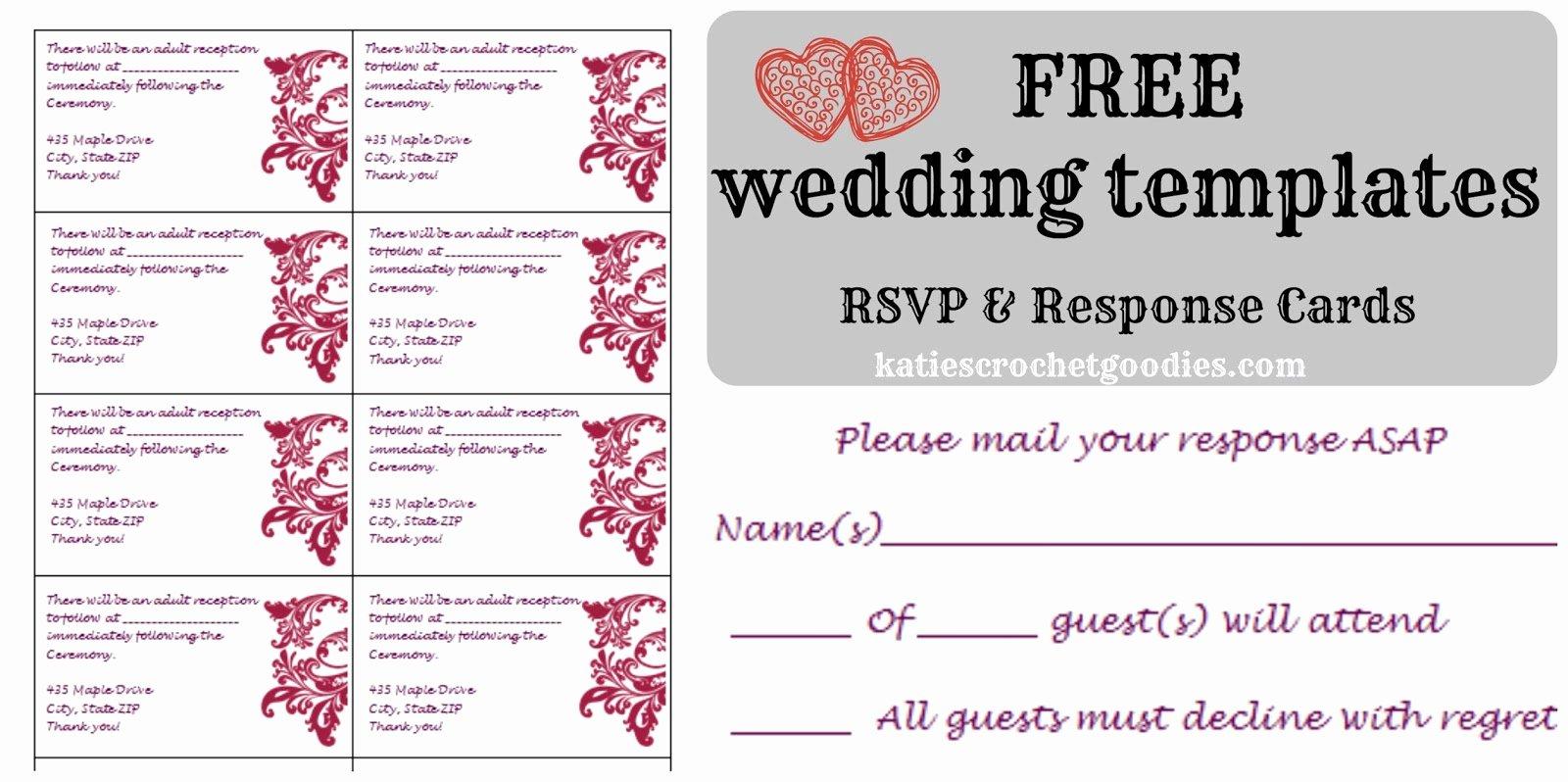 Rsvp Cards Template Free Elegant Free Wedding Templates Rsvp & Reception Cards Katie S