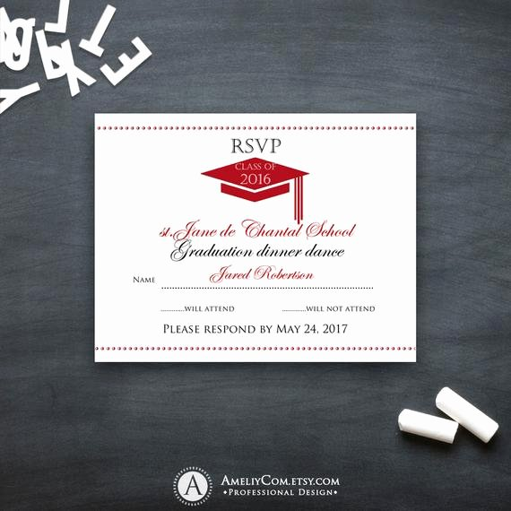 Rsvp Cards Template Free Elegant Graduation Rsvp Card Printable Template Red High School