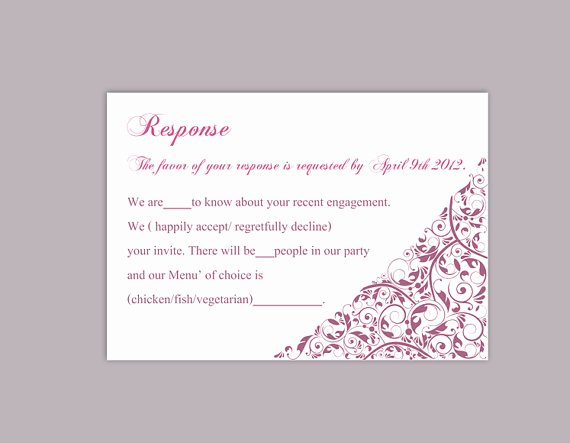 Rsvp Cards Template Free Inspirational Diy Wedding Rsvp Template Editable Text Word File Download