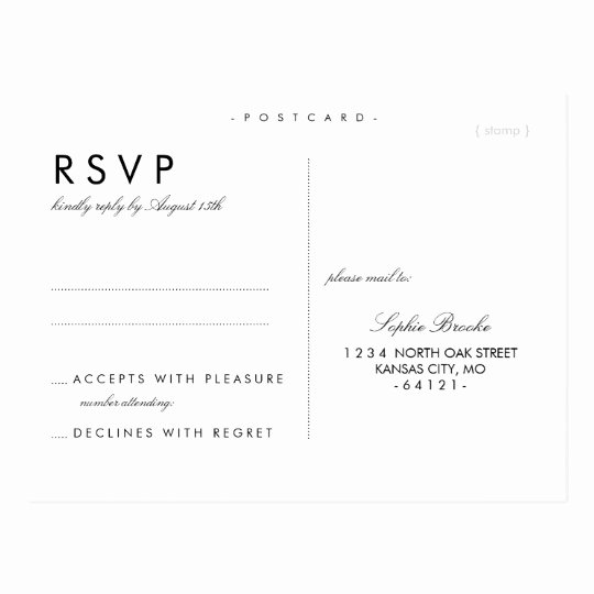 Rsvp Cards Template Free Inspirational Simple Chic Wedding Rsvp Postcard Template