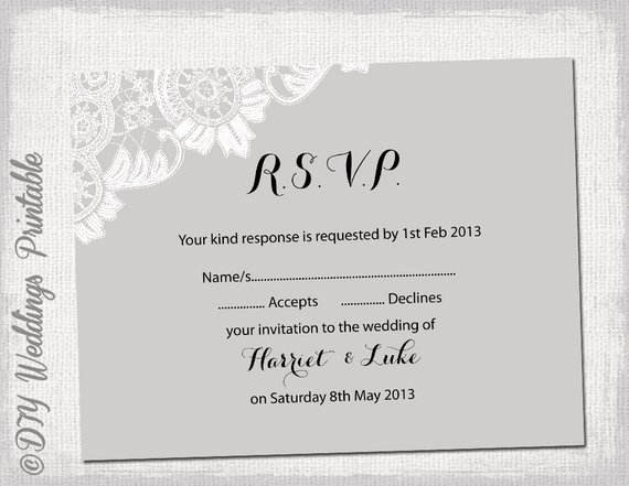 Rsvp Cards Template Free Inspirational Wedding Rsvp Template Diy Silver Gray Antique