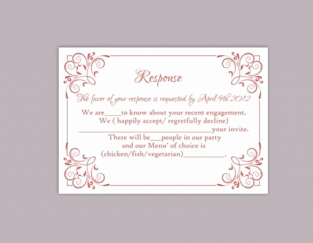 Rsvp Cards Template Free New Diy Wedding Rsvp Template Editable Text Word File Download
