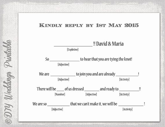 """Rsvp Cards Template Free New Wedding Libs Rsvp Template Diy """"mad Libs"""
