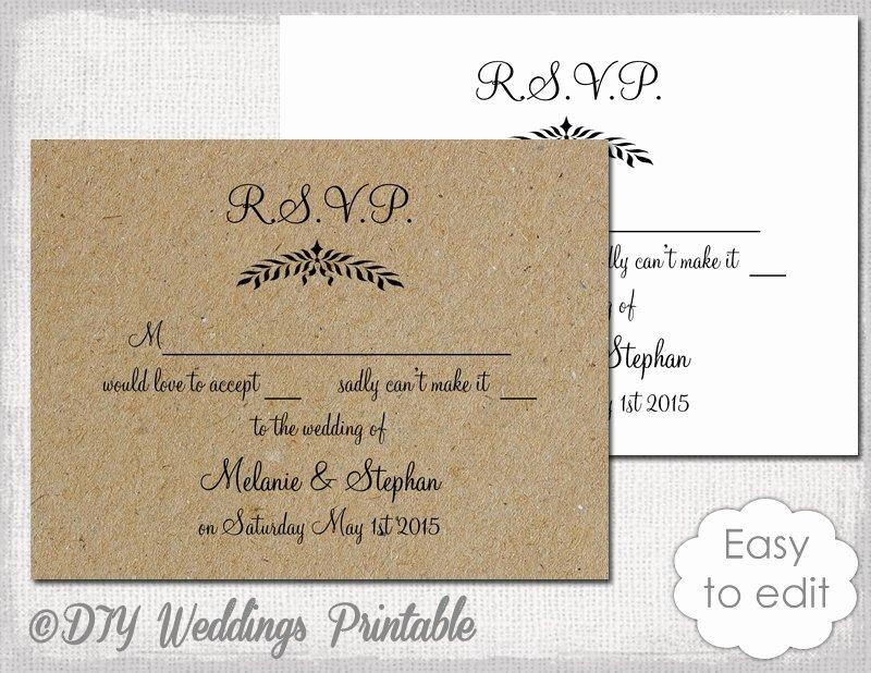 Rsvp Cards Template Free Unique Rustic Wedding Rsvp Template Leaf Garland