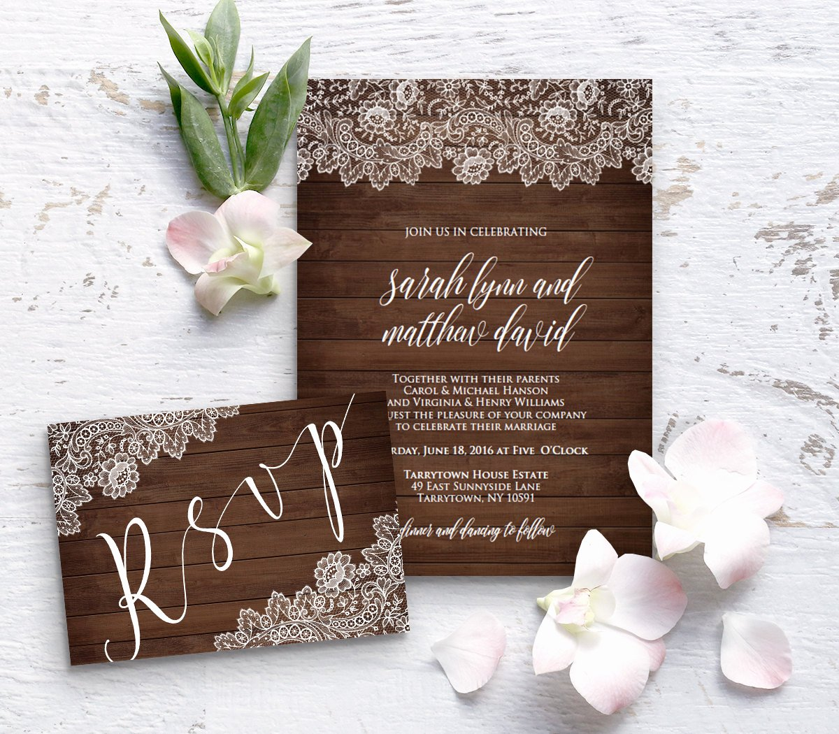 Rustic Wedding Invitation Template Awesome Wedding Invitation Template Rustic Wood Vintage Lace Diy