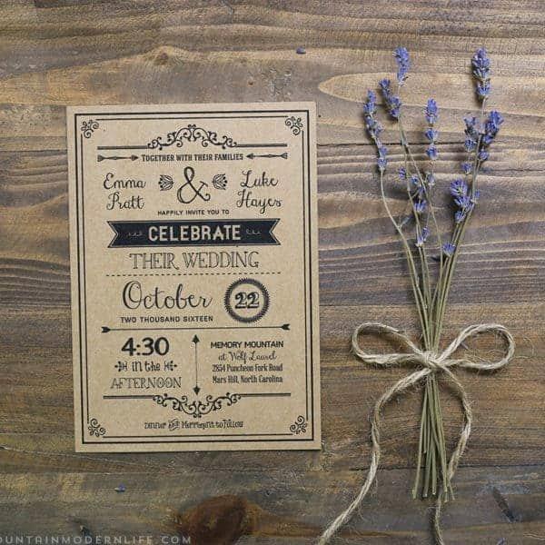 Rustic Wedding Invitation Template Best Of Printable Diy Wedding Menu