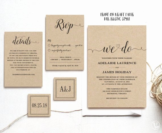 Rustic Wedding Invitation Template Best Of Rustic Wedding Invitation Template 5 Piece by Vinewedding