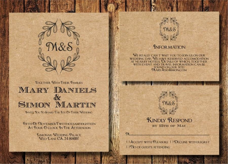 Rustic Wedding Invitation Template Best Of Rustic Wedding Invitation Template Set Kraft Paper Wreath
