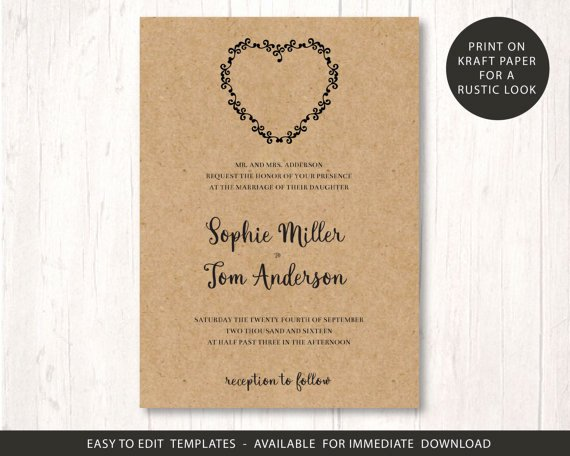 Rustic Wedding Invitation Template Best Of Wedding Invite Template Printable Wedding Invitation Set