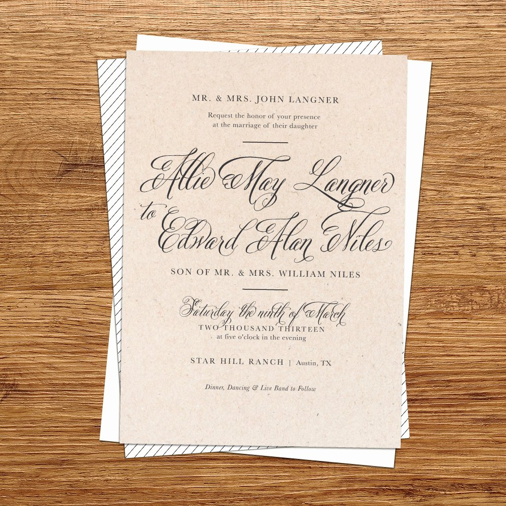 Rustic Wedding Invitation Template New Rustic Wedding Invitation Kraft Paper Wedding by Kxodesign