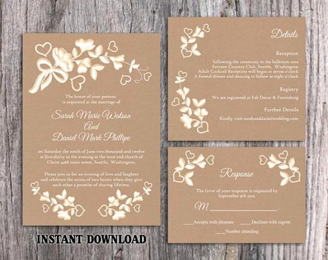 Rustic Wedding Invitations Template Beautiful Diy Lace Wedding Invitation Template Set Editable Word