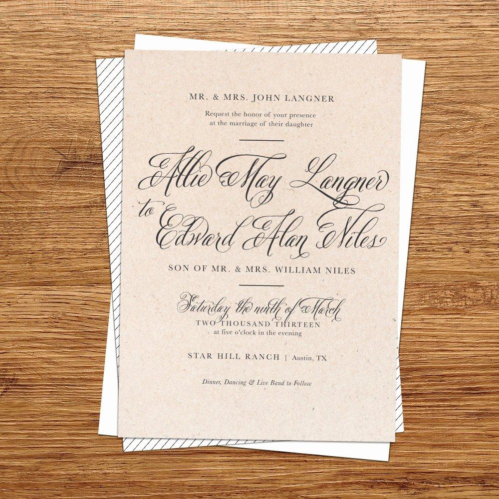 Rustic Wedding Invitations Template Beautiful Rustic Wedding Invitation Kraft Paper Wedding by Kxodesign