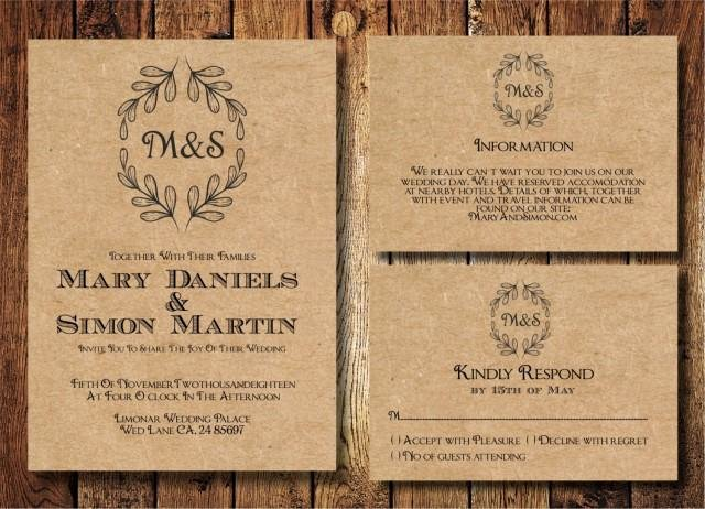 Rustic Wedding Invitations Template Best Of Rustic Wedding Invitation Template Set Kraft Paper Wreath
